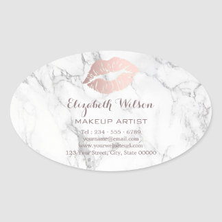 professional makeup rose gold lips on marble oval sticker