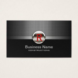 Professional Metal Monogram Construction Business Card