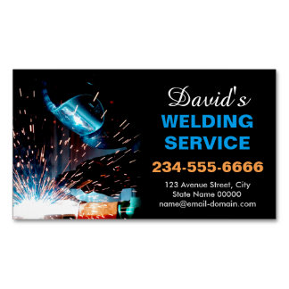 Professional Metal Welding Fabrication Contractor Magnetic Business Card