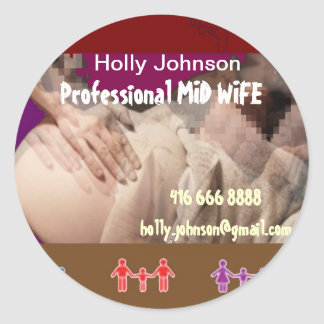 Professional MIDWIFE : Replace Text n Image Classic Round Sticker