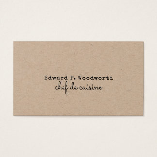 Professional Minimalist Chef de Cuisine Rustic Business Card