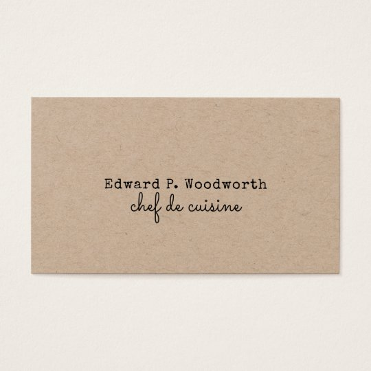 Professional Minimalist Chef de Cuisine Rustic Business Card