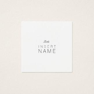 Professional Minimalist Plain Noir et Blanc Square Business Card