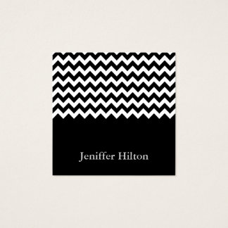 Professional modern chic chevron black white square business card