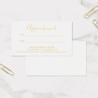 Professional Modern Gold and White Appointment Business Card