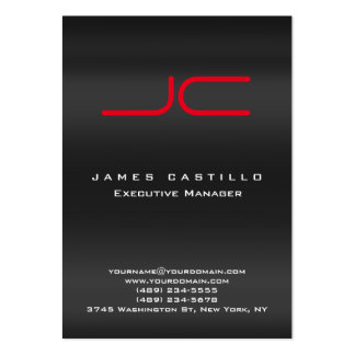 Professional Modern Gray Red Monogram Large Business Card