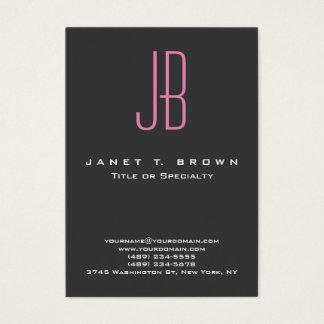 Professional Modern Grey Pink Monogram Business Card