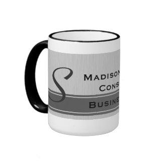 Professional Modern Monogram Gray Business Mugs