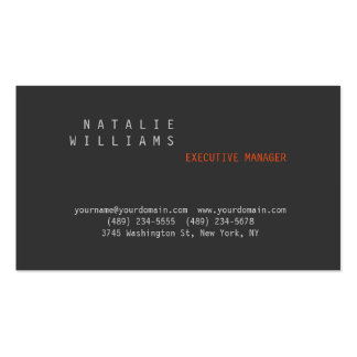 Professional Modern Plain Simple Grey Orange Business Card