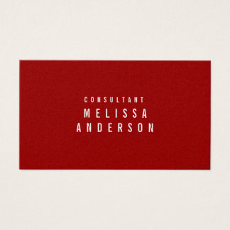 Professional Modern Simple Crimson Red Business Card