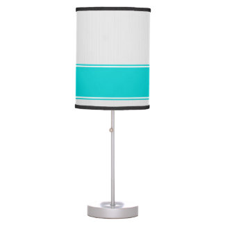 Professional Modern White Pinstripes Teal Desk Lam Table Lamp