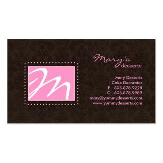 Professional Monogram Business Card Pink Brown