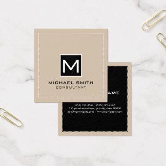 Professional Monogram Elegant Modern Black Vanilla Square Business Card
