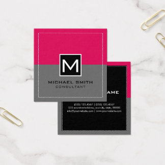 Professional Monogram Elegant Modern Gray Debian Square Business Card
