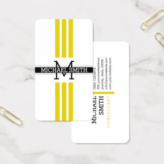Professional Monogram Modern Citrine Stripes Business Card
