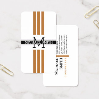 Professional Monogram Modern Copper Stripes Business Card