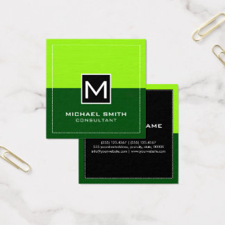 Professional Monogram Modern Green Lime Square Business Card