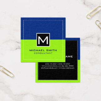 Professional Monogram Modern Lime Dark Blue Square Business Card