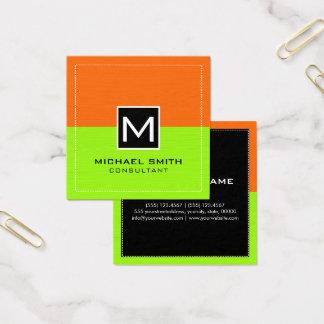Professional Monogram Modern Lime Orange Square Business Card