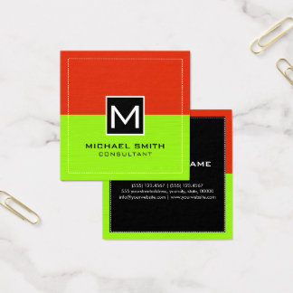 Professional Monogram Modern Lime Red #2 Square Business Card