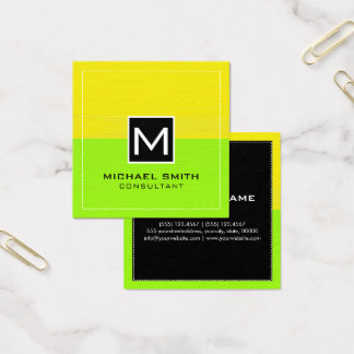 Professional Monogram Modern Lime Yellow Square Business Card