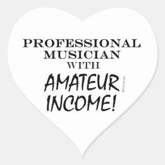 Professional Musician Amateur Income Heart Sticker