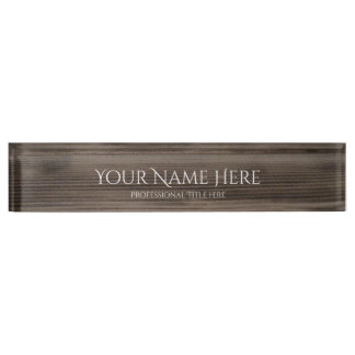 Professional Name Plate - Wood Grain Background