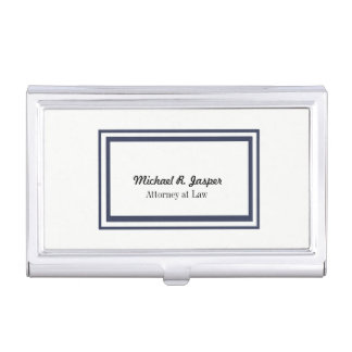 Professional Navy Blue and White Attorney Business Card Holder