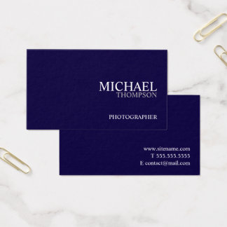 Professional Navy Blue and White Business Card