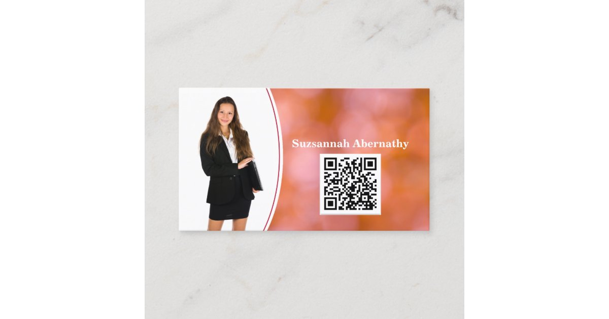 Professional Orange Bokeh Blur Custom Photo QR Business ...