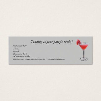 Professional Party Planner Bartender Mini Business Card