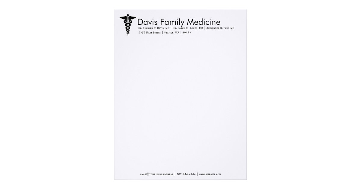 professional personalized doctor 39 s stationery letterhead template zazzle. Black Bedroom Furniture Sets. Home Design Ideas
