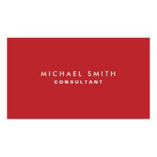 Professional Plain Red Elegant Modern Simple Business Card