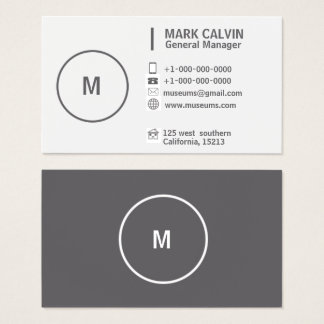 Professional Plain Simple Gray and White Business Card
