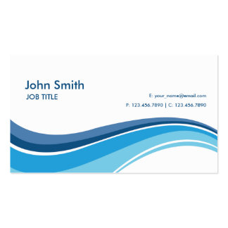 Professional Plain Simple Modern Blue Waves Business Card