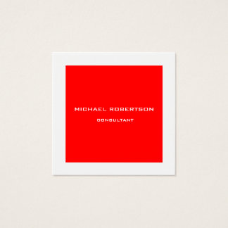 Professional Plain Unique Special Red White Square Business Card