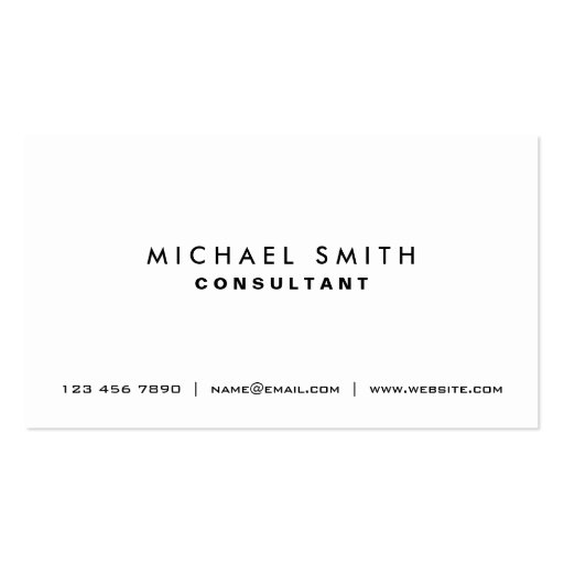 Professional Plain White Elegant Modern Simple Business Cards