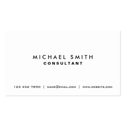 Professional Plain White Elegant Modern Simple Business Cards