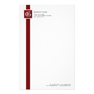 Professional Red, Black & White Stripe Monogram Stationery