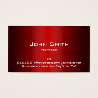Professional Red Metal Pharmacist Business Card