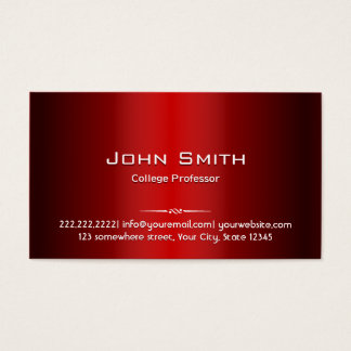 Professional Red Metal Professor Business Card
