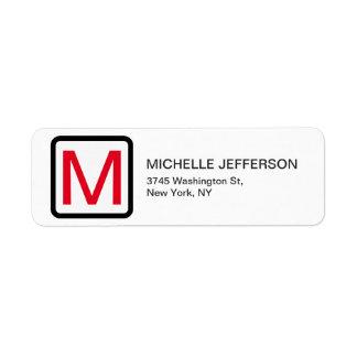 Professional Red White Monogram Modern Plain Return Address Label