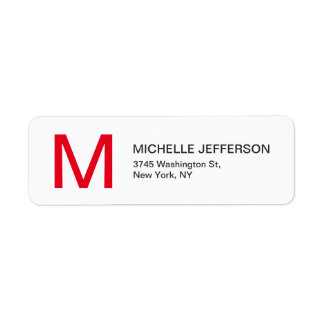 Professional Red White Monogrammed Modern Plain