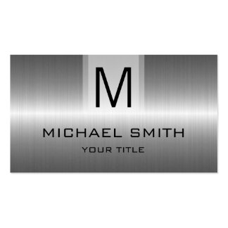 Professional Silver Stainless Steel Metal Monogram Pack Of Standard Business Cards