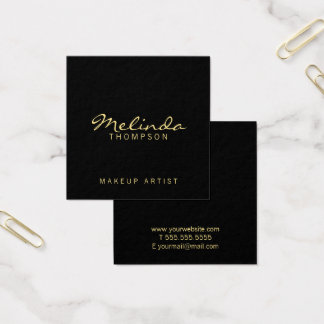Professional Simple Modern Black and Gold Square Business Card