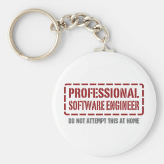 Professional Software Engineer Basic Round Button Keychain