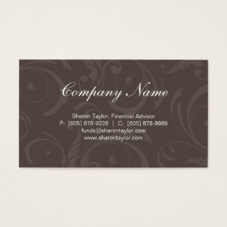 Professional Taupe & Beige Business Card Swirls