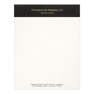 Professional  Traditional Black Linen Letterhead
