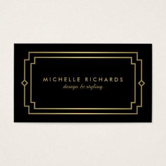 Professional Vintage Art Deco Elegant Gold, Black Business Card