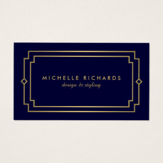 Professional Vintage Art Deco Elegant Gold, Navy Business Card